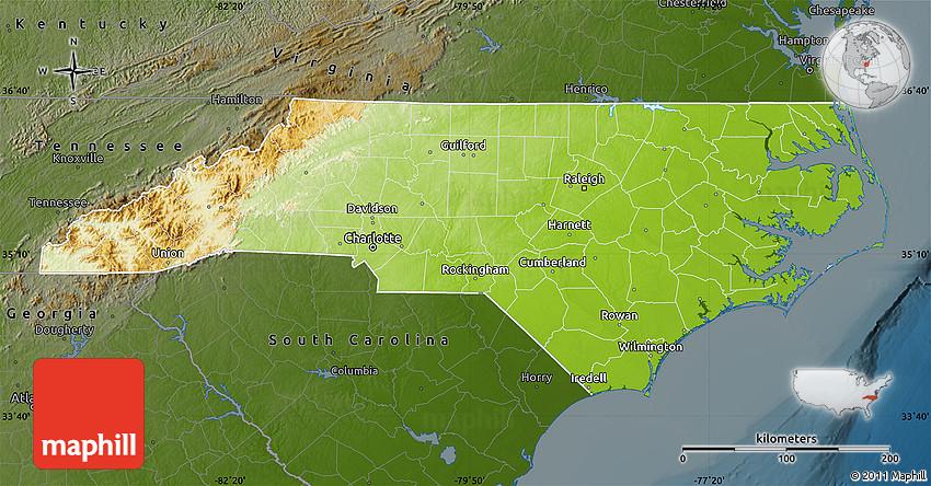 Physical Map Of North Carolina Darken