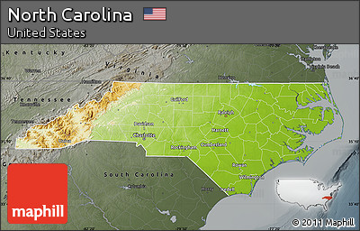 Free Physical Map Of North Carolina Darken Semidesaturated