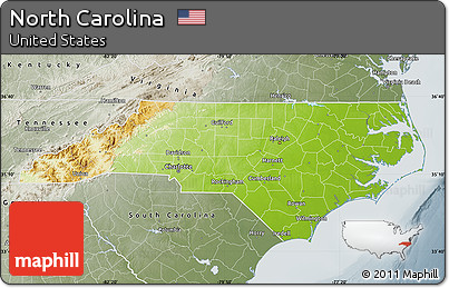 Free Physical Map Of North Carolina Semidesaturated
