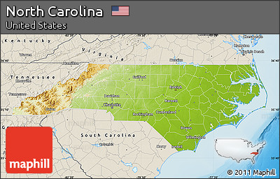 Physical Map Of North Carolina Shaded Relief Outside
