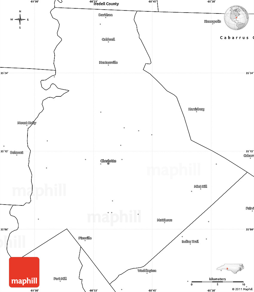 Blank Simple Map of Mecklenburg County