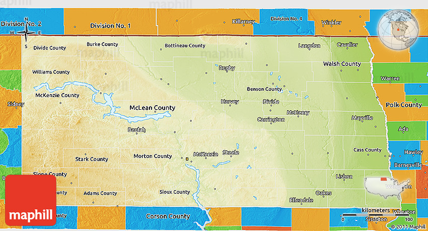 Physical 3D Map of North Dakota political outside