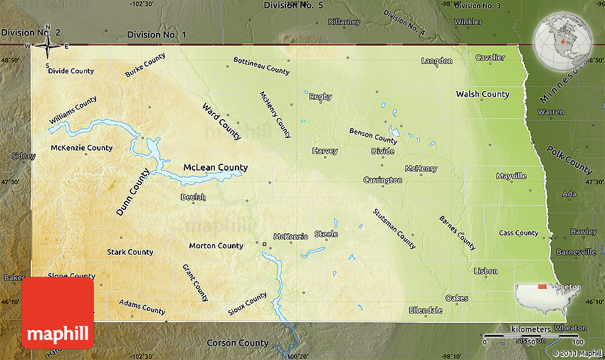 Physical Map of North Dakota darken