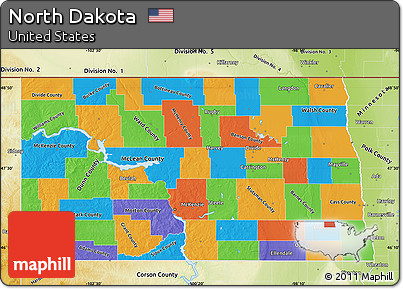 Free Political Map Of North Dakota Physical Outside - North dakota physical map