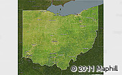 Satellite 3D Map of Ohio, darken