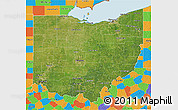 Satellite 3D Map of Ohio, political outside