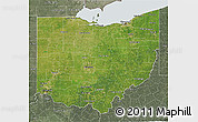 Satellite 3D Map of Ohio, semi-desaturated