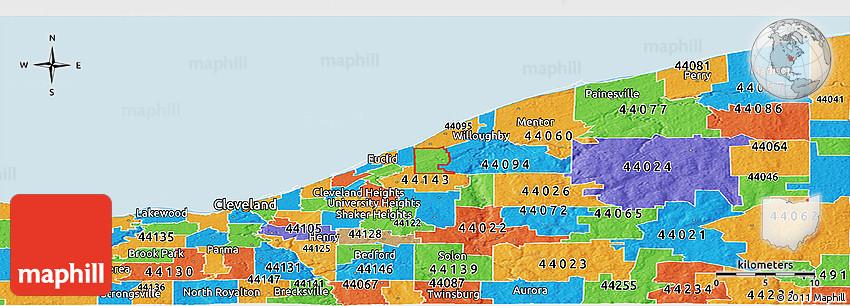 Political Panoramic Map Of Zip Code 44092