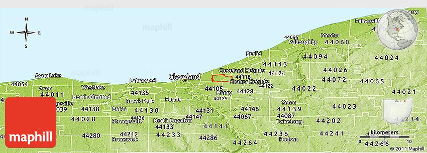 44135 Zip Code Map.Physical Panoramic Map Of Zip Code 44106
