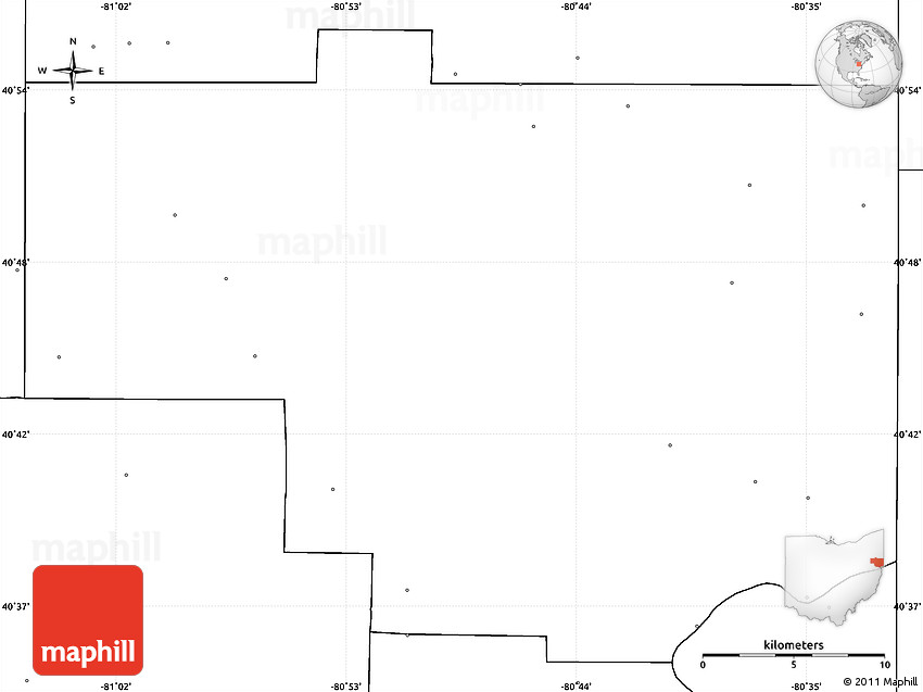 Blank Simple Map Of Columbiana County No Labels
