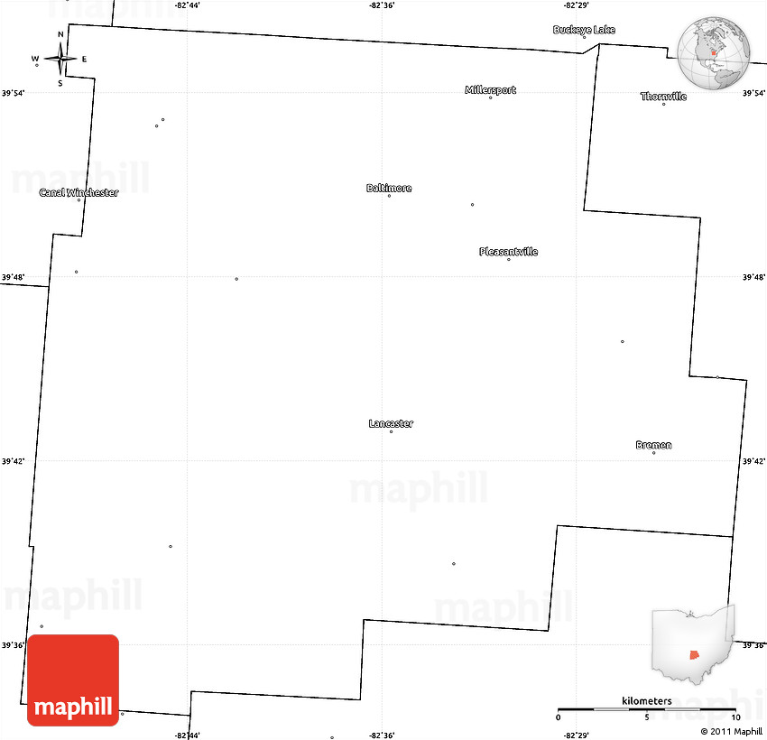 Blank Simple Map Of Fairfield County