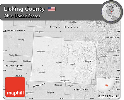 Free Silver Style Map Of Licking County