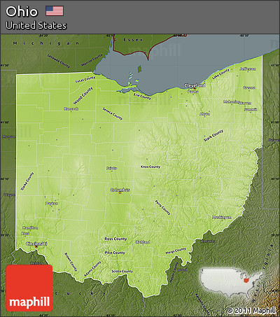 Free Physical Map Of Ohio Darken - Maps of ohio