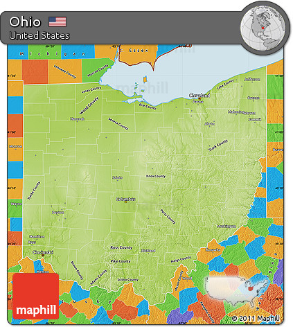Free Physical Map Of Ohio Political Outside - Maps of ohio