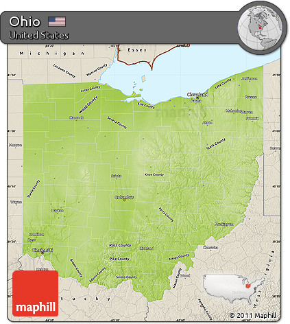Free Physical Map Of Ohio Shaded Relief Outside - Ohio physical map