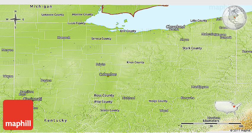 Physical Panoramic Map Of Ohio
