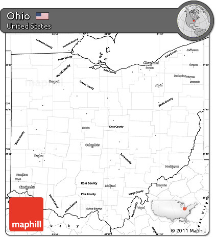 Free Blank Simple Map Of Ohio