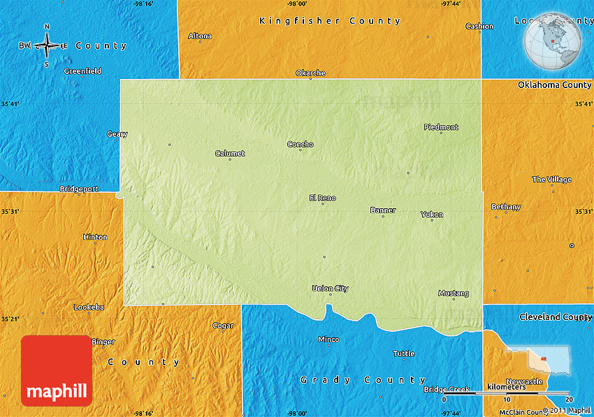 Physical Map of Canadian County, political outside