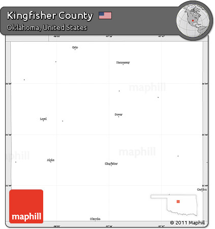 Kingfisher County Oklahoma Map.Free Silver Style Simple Map Of Kingfisher County