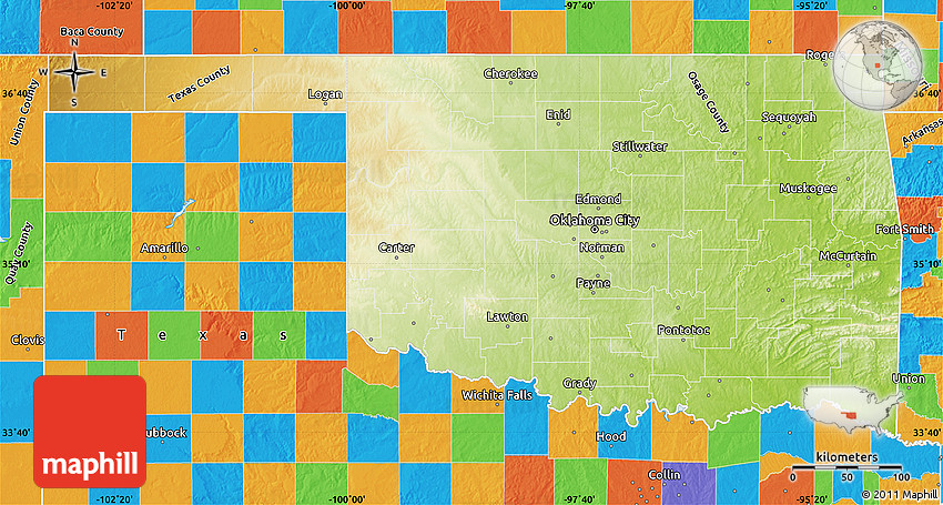 Physical Map Of Oklahoma Political Outside