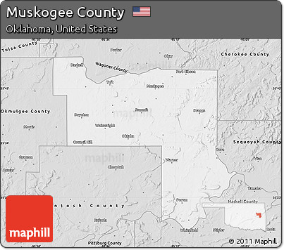 Free Silver Style Map of Muskogee County