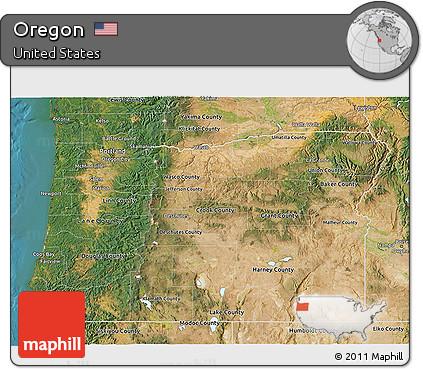 Free Oregon Map.Free Satellite 3d Map Of Oregon