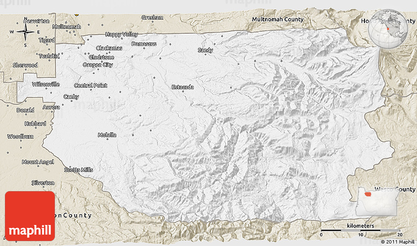 Clic Style 3D Map of Clackamas County on