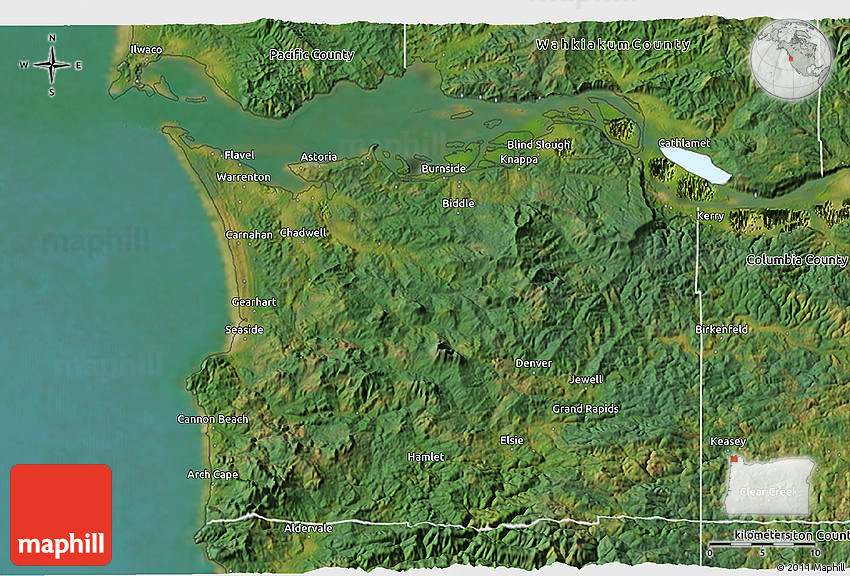 Satellite 3D Map of Clatsop County on