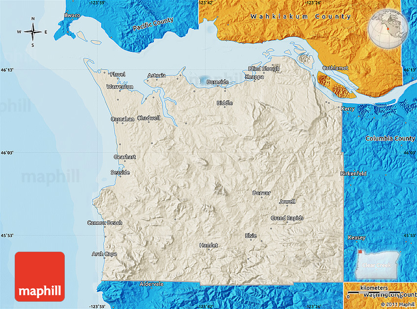 Shaded Relief Map of Clatsop County, political outside on