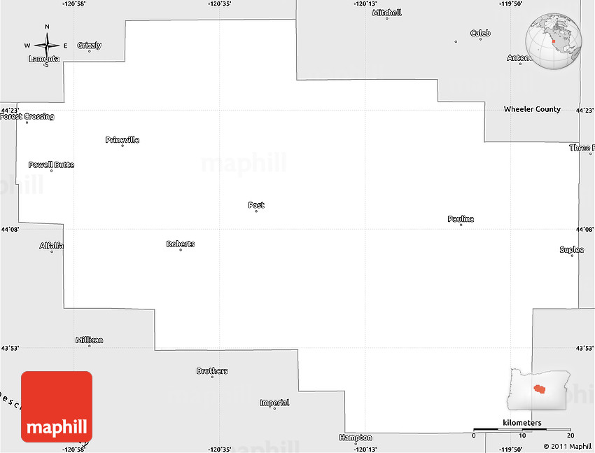 Silver Style Simple Map Of Crook County