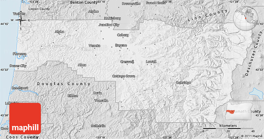 Silver Style Map Of Lane County: Lane County Maps At Slyspyder.com