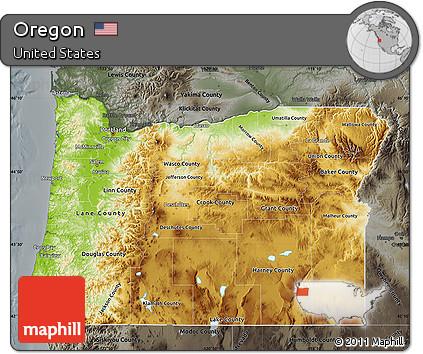 Free Physical Map of Oregon darken semidesaturated