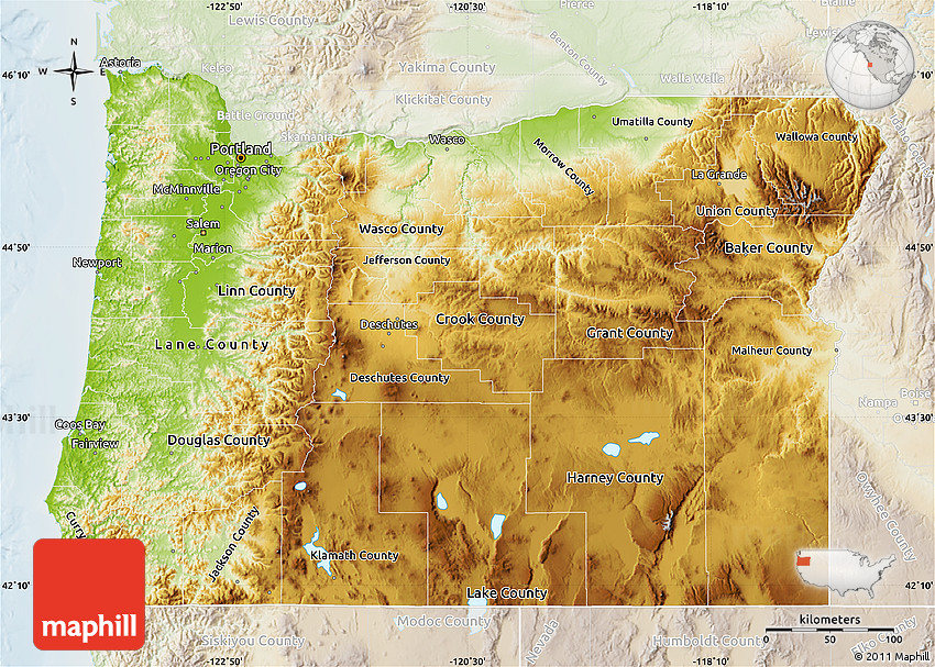 Physical Map of Oregon lighten