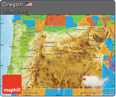 Free Physical Map of Oregon political outside