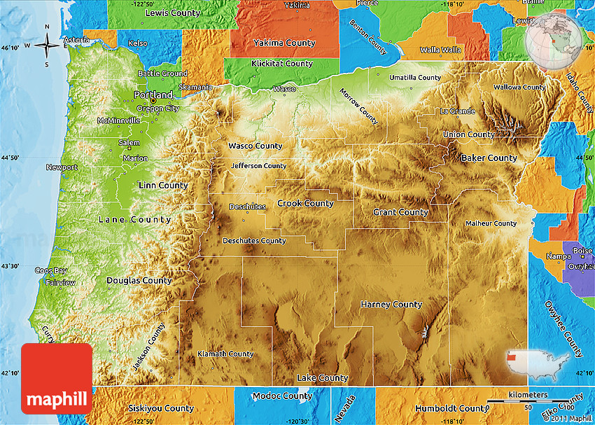 Physical Map of Oregon, political outside on