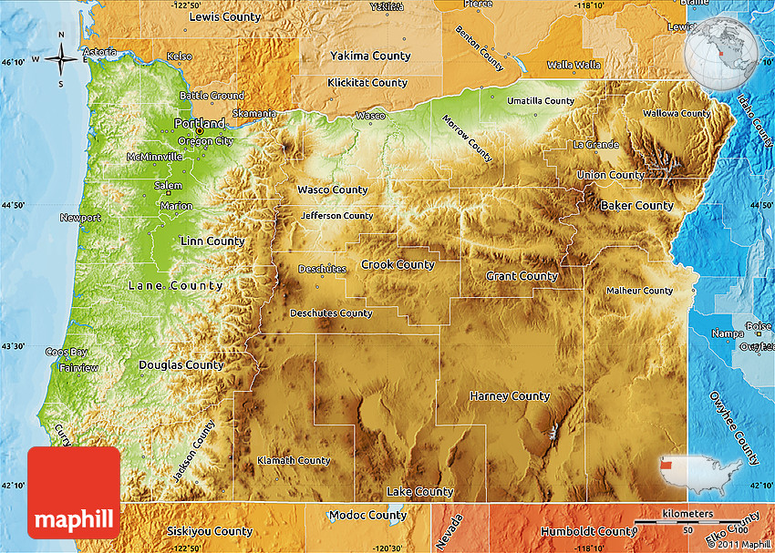 Physical Map Of Oregon Political Shades Outside - Mapoforegon