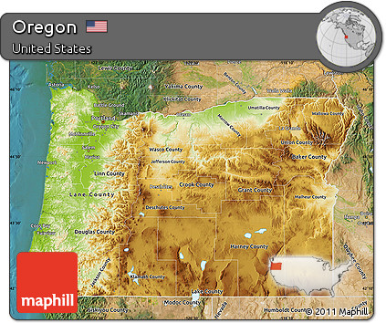 Free Physical Map of Oregon satellite outside