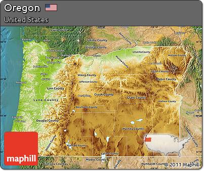 Free Oregon Map.Free Physical Map Of Oregon Satellite Outside
