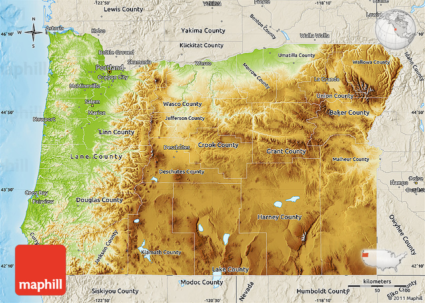 Physical Map Of Oregon Physical Map of Oregon, shaded relief outside