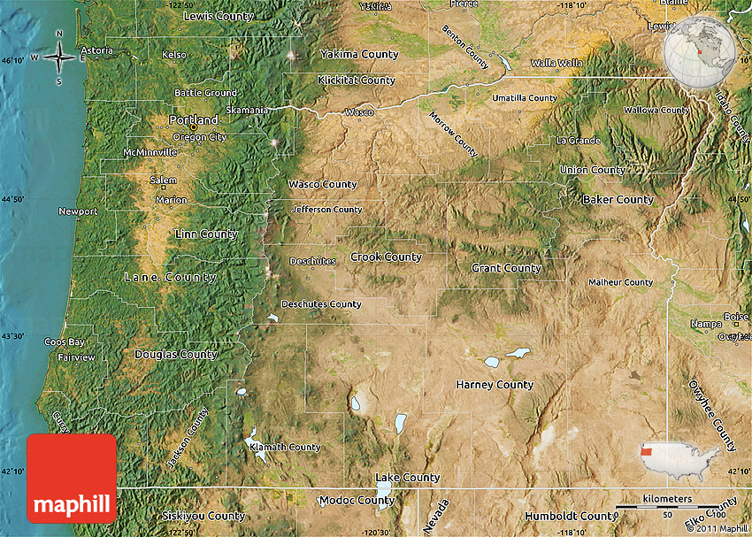 Satellite Map of Oregon A Map Of