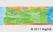 Political Shades Panoramic Map of Oregon
