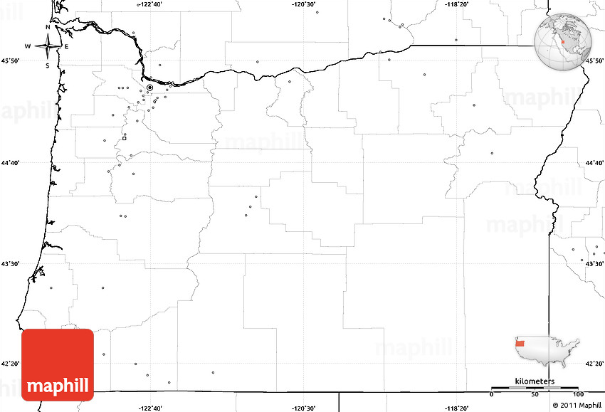 Blank Simple Map Of Oregon No Labels - Us map without labels