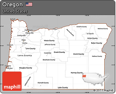 Free Gray Simple Map Of Oregon Cropped Outside