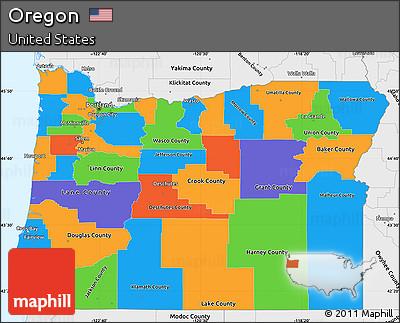 Free Political Simple Map of Oregon, single color outside ...