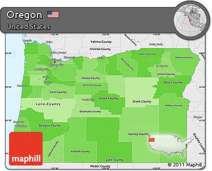 Free Political Shades Simple Map of Oregon, single color ...