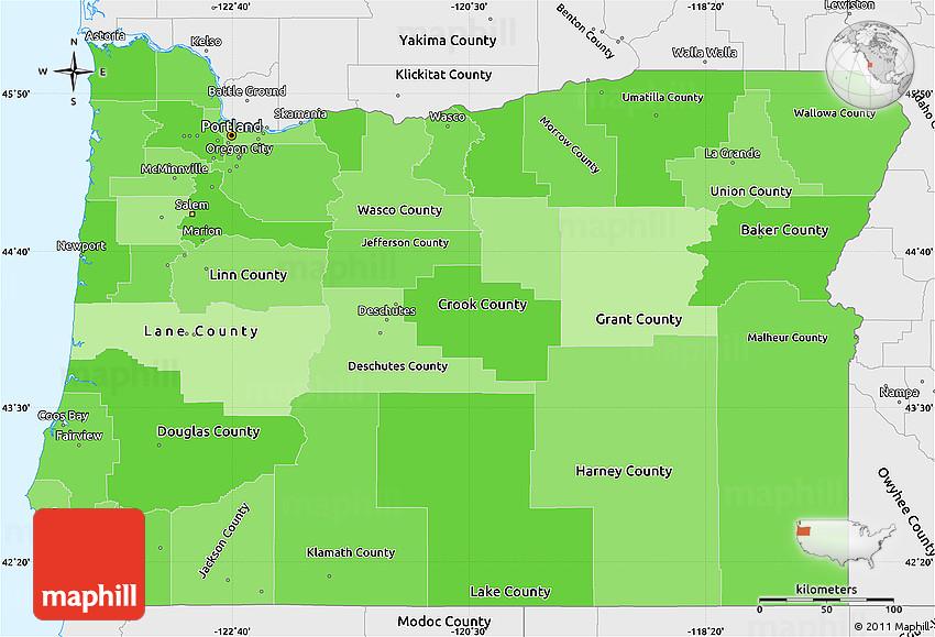 Political Shades Simple Map of Oregon, single color outside ...