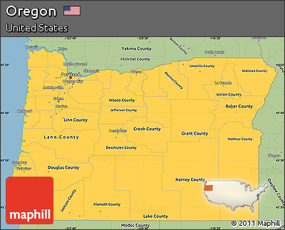Free Savanna Style Simple Map Of Oregon