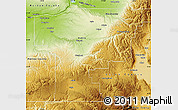 Physical Map of Umatilla County