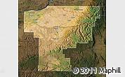 Satellite Map of Umatilla County, darken