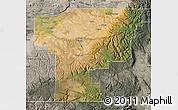 Satellite Map of Umatilla County, semi-desaturated